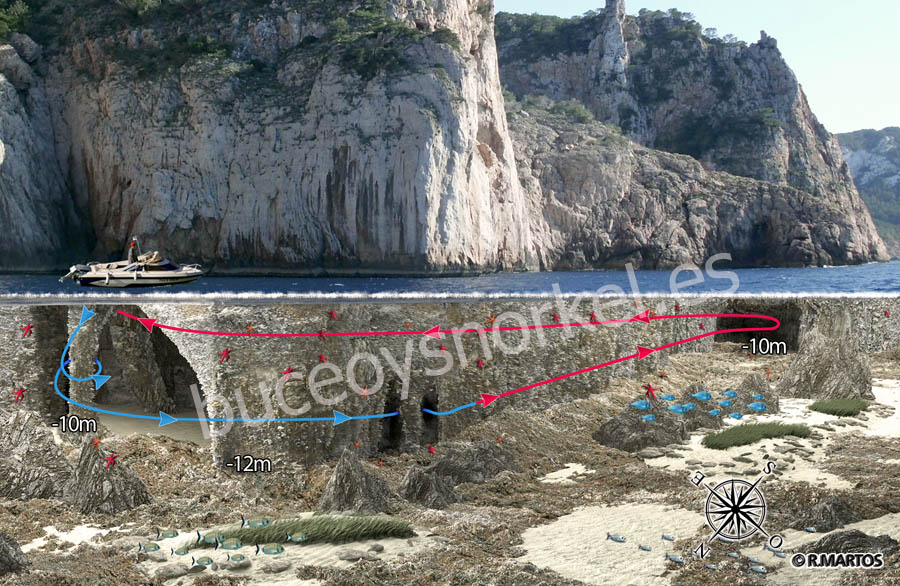 Buceo en las Columnas de Hércules de Ibiza