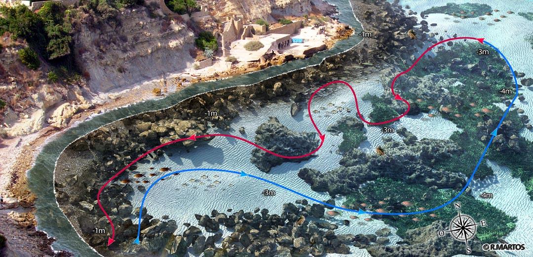 infografia snorkel cala manzanera